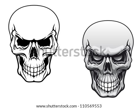 human skulls in color and