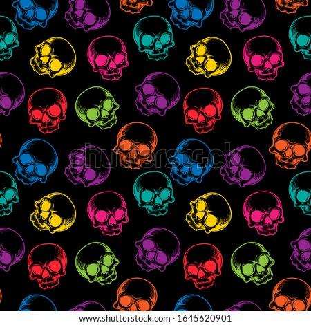 human skulls seamless pattern