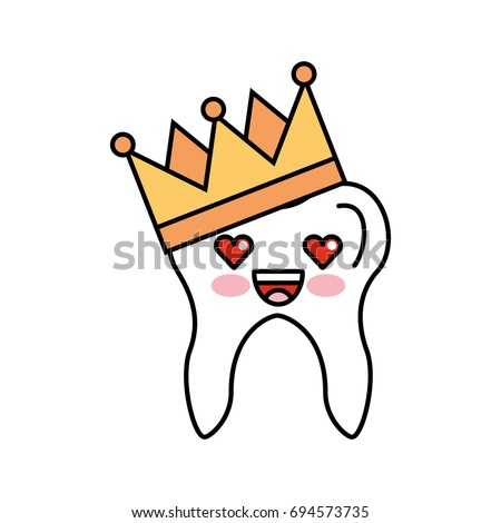 Human tooth with crown kawaii character