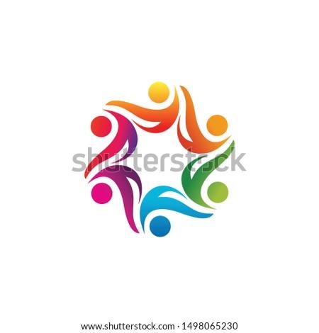 human unity social logo icon vector