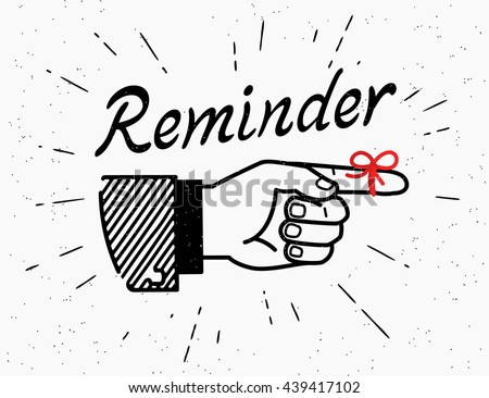 Human vintage hand drawing with pointing finger in retro style with lettering reminder and red tape on the finger isolated on white background
