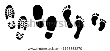 Human walking footprints shoes and shoe sole. Kids feet and foot steps Fun vector footsteps icon or sign for print