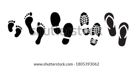 Human walking people footprints, baby feet, bare feet, shoes, slipper and shoe sole signs. Vector foot step silhouette print icons. Kids feets steps footprint for walk person, man or woman.