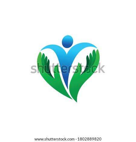 human with love shape logo vector Сток-фото ©