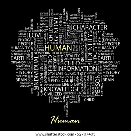 HUMAN. Word collage on black background. Vector illustration.