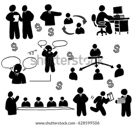 Human working office set #628599506