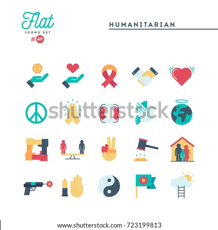 Humanitarian, peace, justice, human rights and more, flat icons set, vector illustration