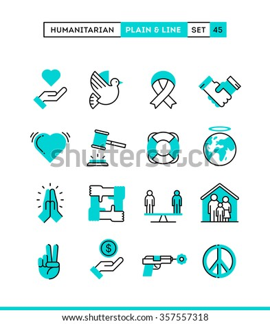 Humanitarian, peace, justice, human rights and more. Plain and line icons set, flat design, vector illustration
