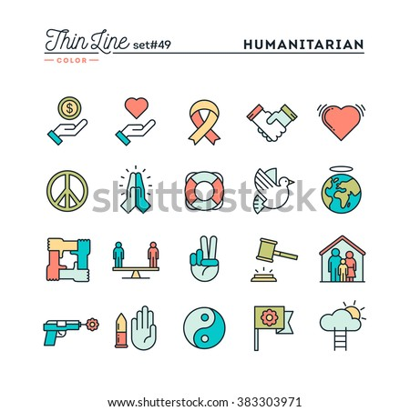 c5b34fbe ... Humanitarian, peace, justice, human rights and more, thin line color  icons set ...
