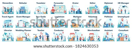 Humanitarian profession set. Business and social profession. Business, retail, politics system and entertainment. Stewardess, teacher, marketer, diplomat. Isolated flat vector illustration ストックフォト ©