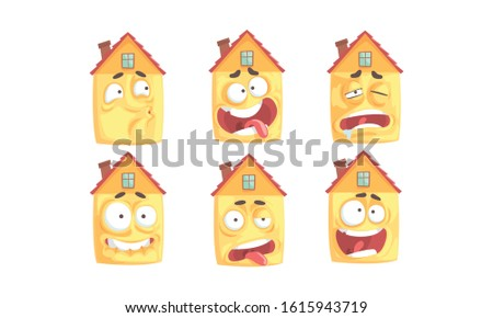 Humanized Houses Collection, Funny Building Cartoon Character with Various Face Expressions Vector Illustration