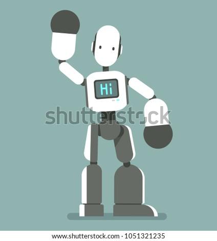 humanoid robot says hi cute