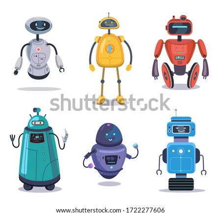 Humanoid robotic machine set. Colorful robot characters, cyborg, electronic toy. Vector illustration for futuristic art, robotics, engineering, fiction for children concept