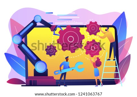 Humans and cobot robotic arm collaborate at laptop fixing gears. Collaborative robotics, cobot automatization, safe industry solutions concept. Bright vibrant violet vector isolated illustration