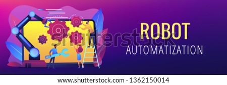 Humans and cobot robotic arm collaborate at laptop fixing gears. Collaborative robotics, cobot automatization, safe industry solutions concept. Header or footer banner template with copy space.