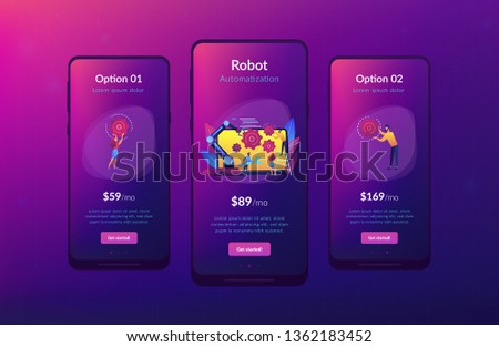 Humans and cobot robotic arm collaborate at laptop fixing gears. Collaborative robotics, cobot automatization, safe industry solutions concept. Mobile UI UX GUI template, app interface wireframe
