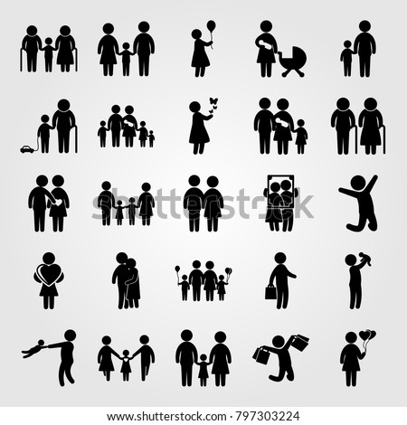 Humans icon set vector. woman with balloons, mother and son, woman with ballon and big family