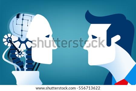 humans vs robots concept