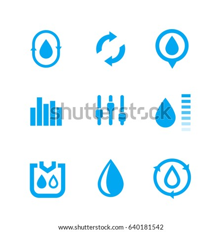 humidity, water control icons set