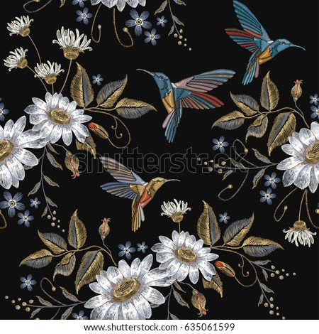 humming bird and chamomile
