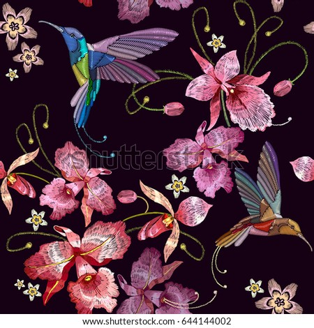 humming bird and orchid exotic