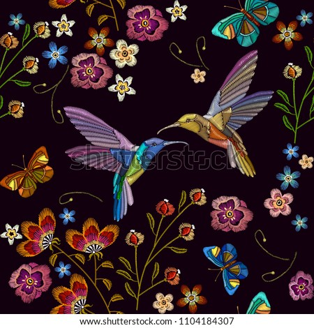 humming bird and tropical...