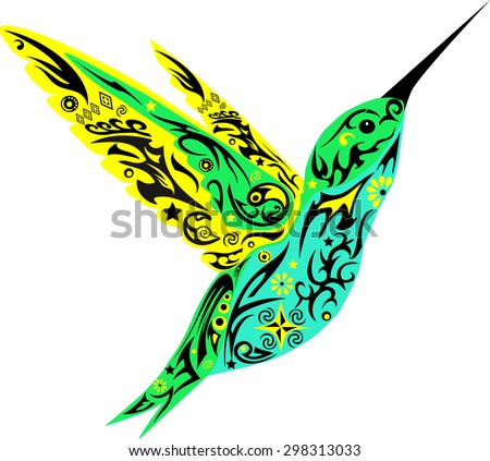 Humming-bird flies, a bird with wings, an animal with drawing, a little bird with patterns, a bird with a flower, curls on a Humming-bird