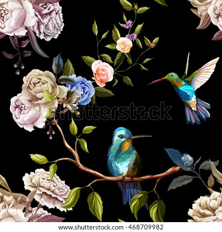 stock-vector-humming-bird-roses-carnation-and-peony-with-leaves-on-black-watercolor-seamless-background