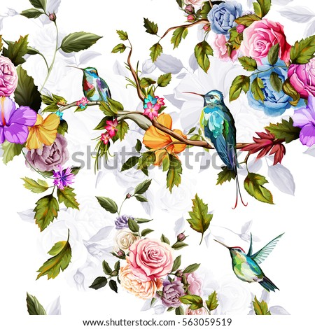 Humming bird, roses, peony with leaves on white. Watercolor. Seamless background pattern. Vector - stock.