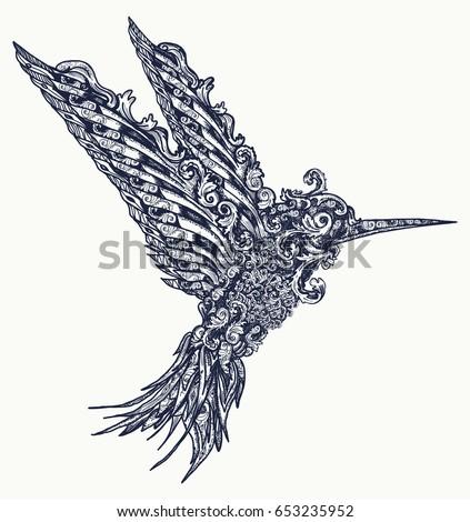 humming bird tattoo and t shirt