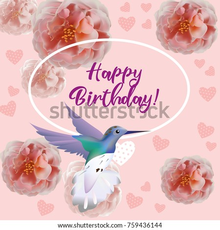 Hummingbird and Flowers. Tropical paradise decor, can be used as invitation card for wedding, birthday and other holiday and summer background. Vector illustration.