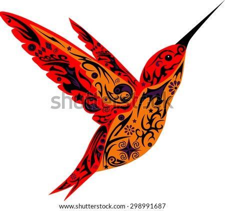 Hummingbird flies, a bird with wings, an animal with drawing, a little bird with patterns, a bird with a flower, curls on a Humming-bird