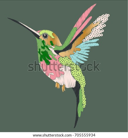 hummingbird in embroidery and