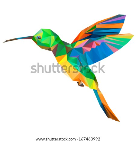 hummingbird origami (geometric style). colibri illustration of a many triangles.