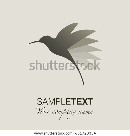 Hummingbird silhouette logo. Vector Illustration