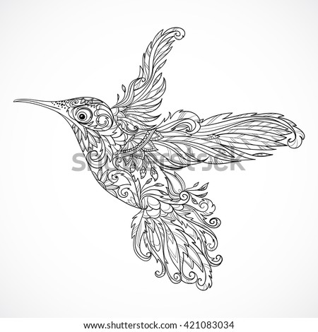 hummingbird with floral