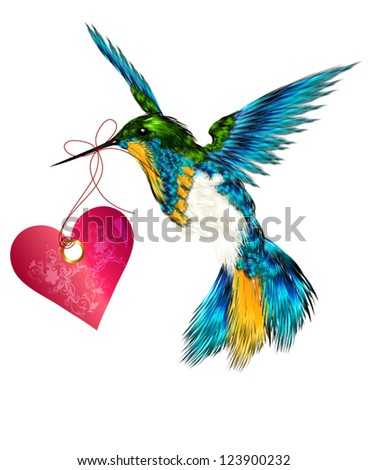 Hummingbird with pink heart for valentines design