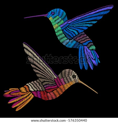 hummingbirds embroidery