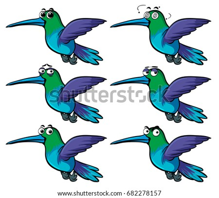 Hummingbirds with different emotions illustration