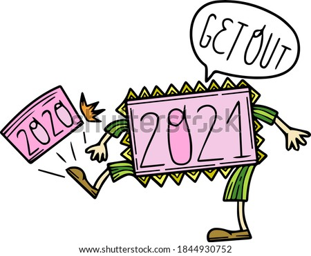 Humor. 2021 drives 2020. Single design element. Clipart. Christmas theme, New Year, Winter. Scandinavian. Isolated on a white background. Postcard, sticker, advertising. Pastel colors. Cartoon style. Сток-фото ©