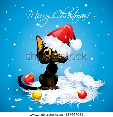 Humorous Cat Wearing a Santa Claus Hat  Cartoon Cat Wearing a Santa Claus Hat. Greeting Card in vector. Text on a separate layer.