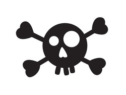 Humorous icon of cartoon human skull and crossbones isolated on white background. Symbol of danger, pirate, poison, death. Art vector illustration.