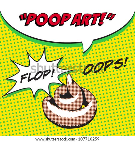 humorous illustration of feces in pop art style