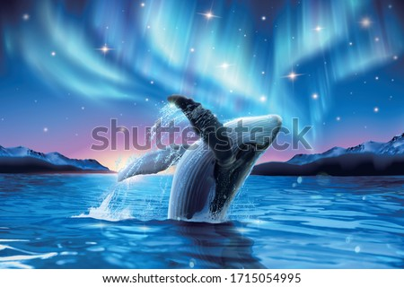 Humpback whale breaching water with breathtaking aurora shimmering on dreamy starry background, 3d illustration Foto d'archivio ©