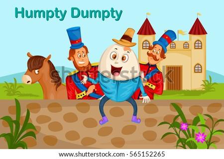 Humpty Dumpty,Kids English Nursery Rhymes book illustration in vector Stock photo ©