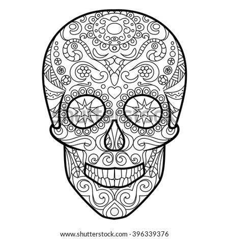 Hunan Skull Coloring Book For Adults Vector Illustration