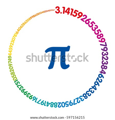 Hundred digits of number Pi forming a rainbow colored circle. Value of infinite number Pi accurate to ninety-nine decimal places. Spectrum colored sequence. Illustration on white background. Vector.