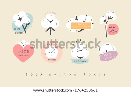 Hundred percent Cotton Logos, Icons. Various Cotton flower plants, fluffy balls. Natural Eco organic textile, fabric concept. Hand drawn Vector set. Trendy illustration. Every Icon is isolated