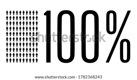 Hundred percent people graphic, 100 percentage population demography diagram. Vector people icon chart design for web ui design. Flat vector illustration black and grey on white background.