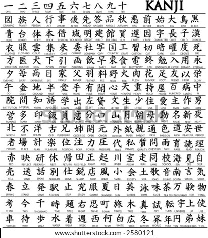 Hundreds of Japanese Kanji Characters With Translations Underneath ...